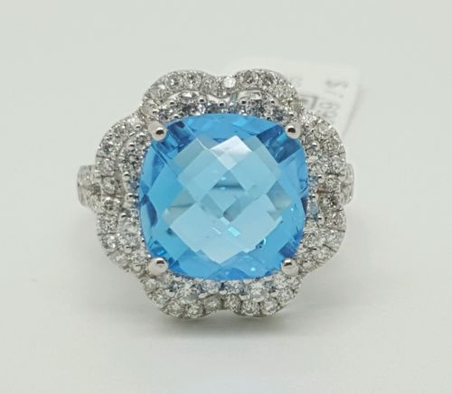 14k White Gold 6.96TCW Diamond & Cushion Blue Topaz Halo Ring Size 6.5 10×10MM