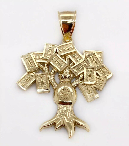 10K Yellow Gold Diamond Cut Lucky Money Tree Dollar Bag Pendant 6.3 Gr Men 1.65""