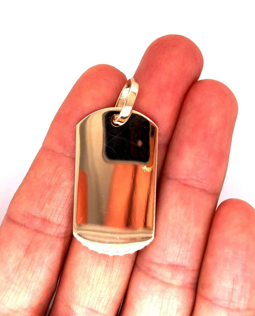 "Mens 10K Solid Yellow Gold Custom Dog Tag Charm Pendant, 1.53"", 8.8 Grams"