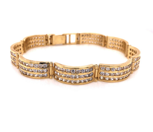 "Three Row 22.2 Grams 14k Solid Yellow Gold 7"" Tennis Bracelet"