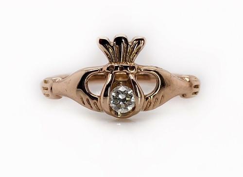 18K Solid Rose Gold Natural Diamond Money Bag Hands Ring Women's Ring SI1,H