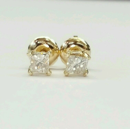 0.37 Ct natural princess cut diamond 14k solid yellow gold stud earrings