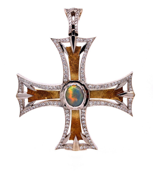 18k White Gold 2.6Ct Natural Diamond & Semi Black Opal Square Cross Pendant 2""