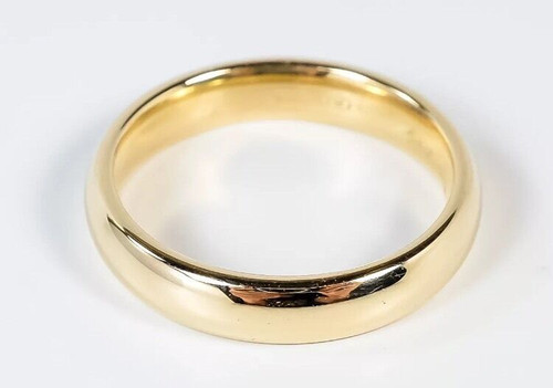 Solid 14K Yellow Gold 4 MM Size 10 Comfort Fit Wedding Ring Band Mens Womens