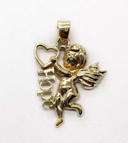 14K Solid Yellow Gold Angel Hope Heart Charm Pendant 30 MM 3.8 Grams, Unisex