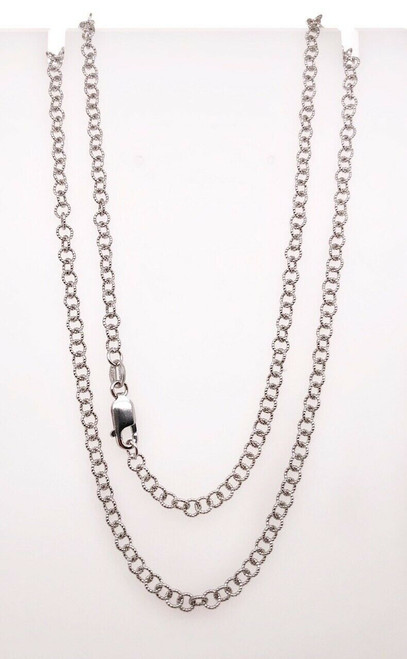"14k Solid White Gold Round Link Chain Choker Necklace 18"" 6.7 Grams"