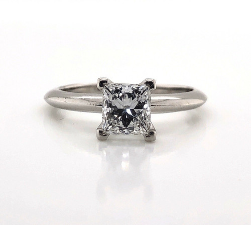 Tiffany & Co Platinum Princess Cut Diamond Solitaire 0.83 Ct, D-VS2
