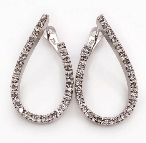 1.10 Ct Diamond 14K Solid White Gold Pear Hoop Earrings 9.4 Grams