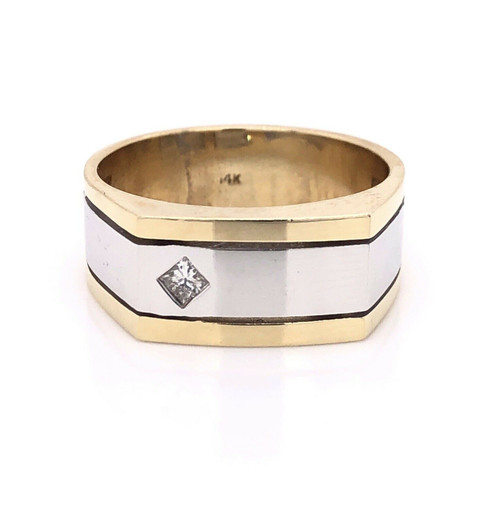 14k Solid Yellow & White Gold Natural Diamond Mens Solitaire Ring 9.3 Grams