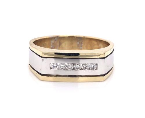 14k Solid Yellow & White Gold 0.22 Ct Natural Diamond Mens Ring 7.1 Grams