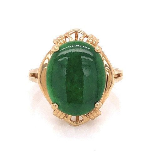 18k Yellow Gold 6 TCW Natural Green Jade Womens Ring