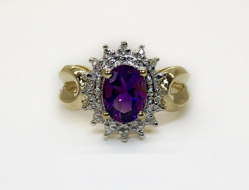 14K Solid Yellow Gold 1.08 TCW Natural Diamond & Oval Amethyst Halo Cluster Ring
