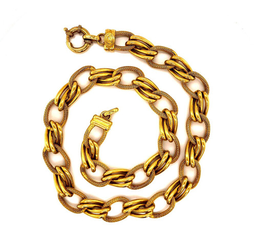 "18k Solid Yellow Gold Link Chain Choker Necklace 16"", 12 mm 40.1 Grams"