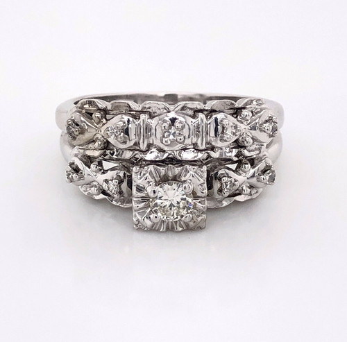 Vintage Art Deco 14K White Gold 0.20Ct Old Natural Diamond Engagement Ring Band