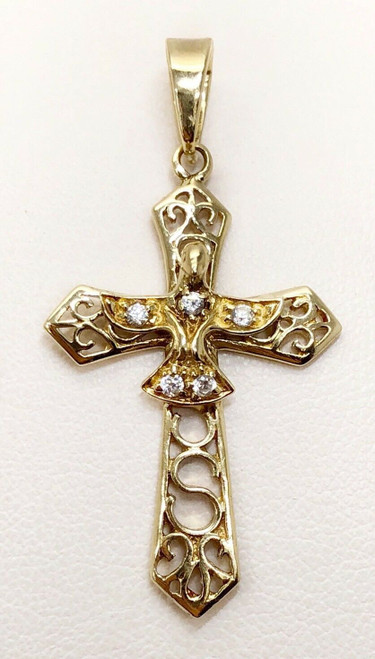 "Italian Made 10k Yellow Gold CZ Bird Spirito Santo Cross Pendant 1.65"", 3.1Gr"