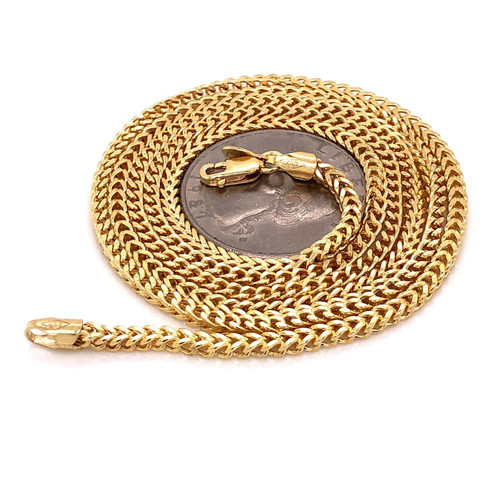 "Men's 10k Yellow Gold Franco Chain Necklace 26"" 2.4 MM 6.5 Grams"