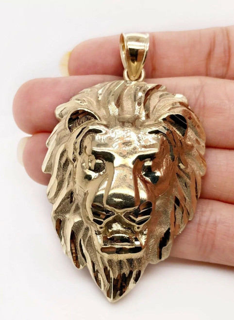 "Mens 10K Solid Yellow Gold Lion Head Face Pendant Charm 18.4 Grams, 2.6"" X Large"