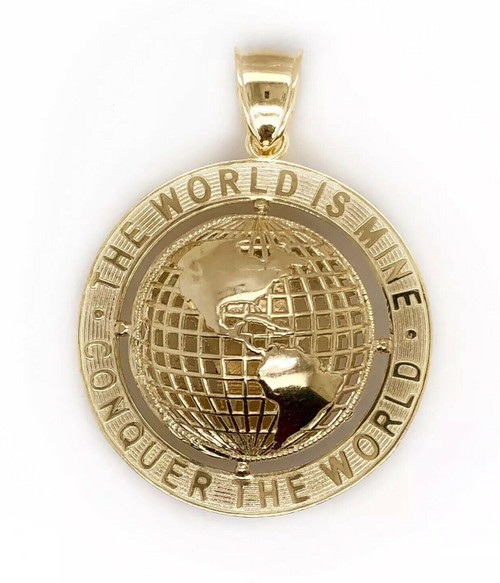 "10K Yellow Gold Round Globe Planet Earth World Map Two Sided Pendant 1.46"" 11.7G"