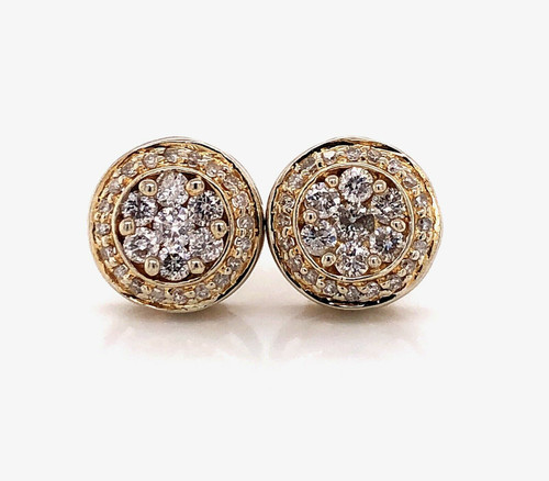14k Solid Yellow Gold 0.80Ct Diamond Flower Cluster Stud Earrings 10.5 MM Unisex