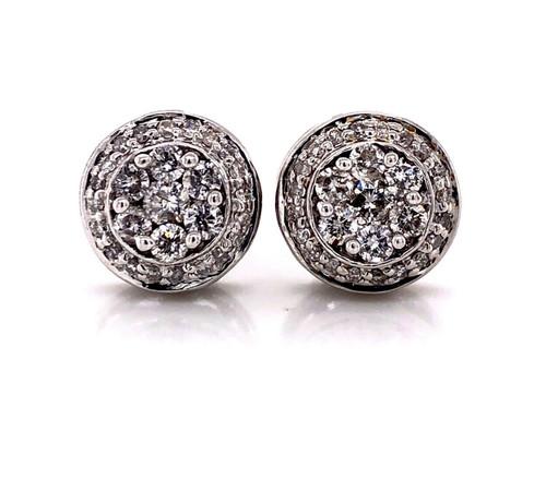 14k Solid White Gold 0.80Ct Diamond Flower Cluster Stud Earrings 10.5 MM Unisex