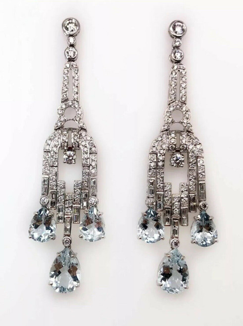 11.1Ct Fine Long Diamond & Aquamarine Cluster Chandelier Earrings 18K White Gold
