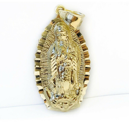 "Large 2"" 10k Solid Yellow Gold Virgin Mary Guadalupe Mens Pendant, 8.2 Grams"