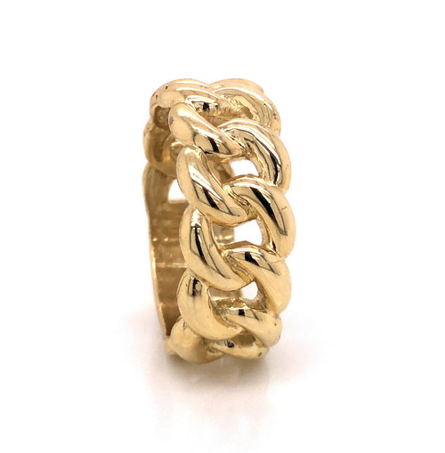 10k Solid Yellow Gold Mens Miami Cuban Link Ring 9 Grams 9 mm Wide