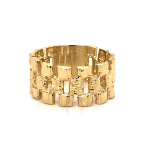 10k Solid Yellow Gold Mens Rolex Style Link Ring 6.8 Grams 11 mm Wide