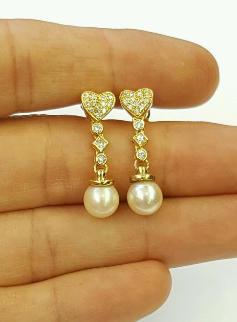 18k yellow gold natural diamond and dangling freshwater white pearl earrings