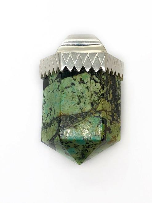 Mens 925 Sterling Silver Turquoise Drop Bullet Shape Pendant
