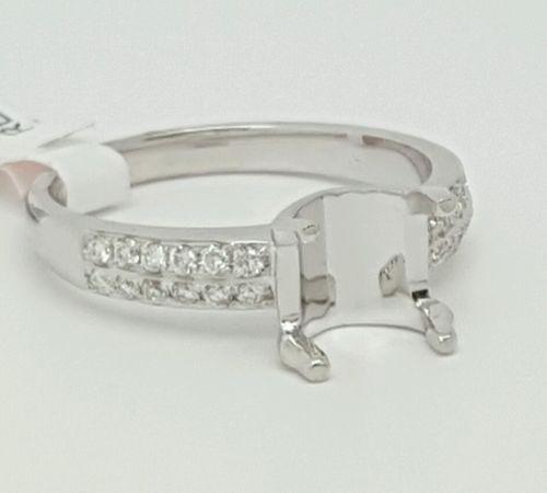 14k White Gold Diamond Solitaire Semi Mount Engagement Ring Cushion Center 8×7mm