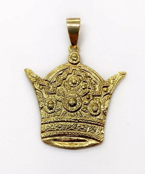 "18K Solid Yellow Gold Pahlavi Kingdom King Crown Pendant 1.34"" Unisex,10.8 Gr"