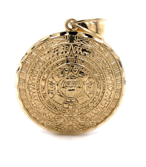 "Mens 1.06"" 10K Solid Yellow God Aztec Mayan Mexico Sun Calendar Pendant 5.2 Gr"