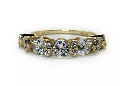14K Solid Yellow Gold Five Stones CZ Engagement/Wedding Ring Size 5
