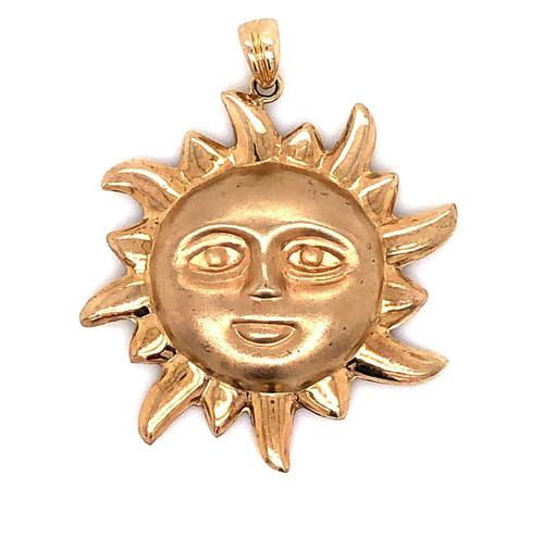 "10k Yellow Gold Sun Face Charm Pendant Matte Finished 1.22"" 3.4 Grams Unisex"