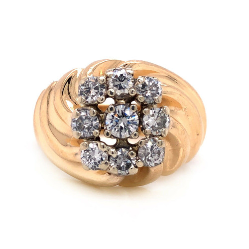 14k Yellow Gold 1.70 TCW Natural Diamond Mens Cluster Ring 16.8 grams