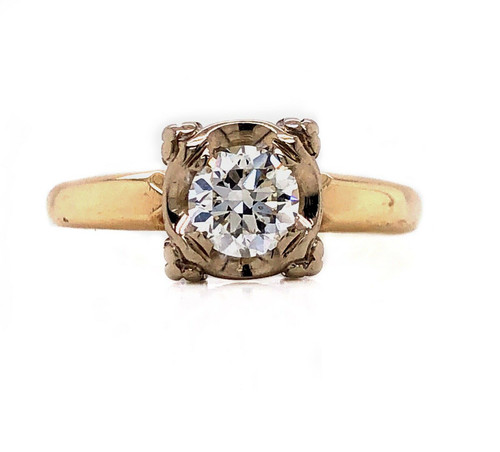 14k Yellow Gold 0.45 Ct G/VS2 Old Cut Diamond Art Deco Solitaire Engagement Ring