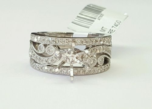 14k White Gold Diamond Semi Mount Wide Engagement Ring for Round Center 1-1.5 Ct