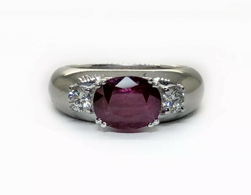 18K Solid White Gold 2.27 Ct Natural Diamond & Ruby Ring VS1,F Three Stone Style
