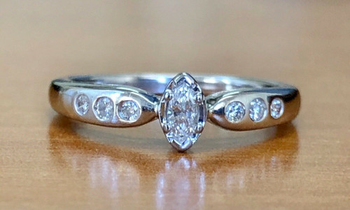 Vintage 14K White Gold 0.16 Ct Natural Marquise Diamond Solitaire Ring Size 5
