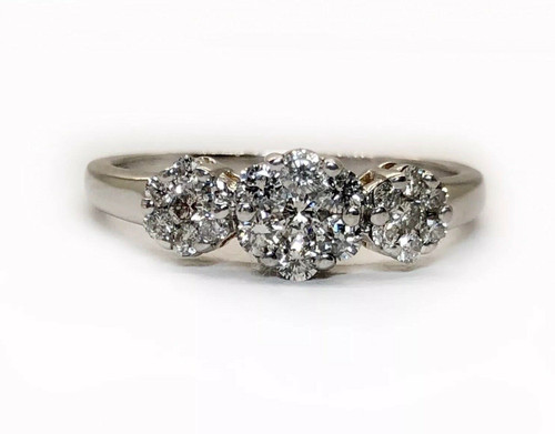 14k White Gold Diamond Flower Cluster Ring 0.75 TCW Natural Round Womens