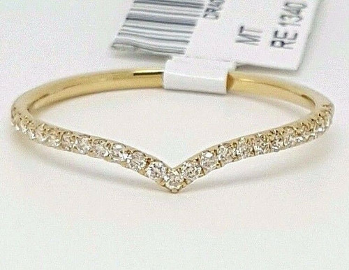 0.15 Ct 14K Yellow Gold Diamond Chevron Curved Wedding Band Ring Enhancer Pave