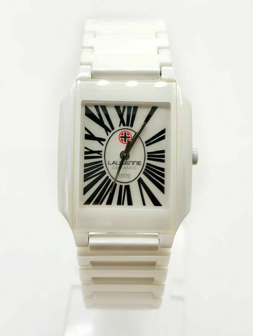 Swiss Made Watch LAUSANNE Model LAU-REC-ROM-0002WT White Ceramic Unisex 26MM