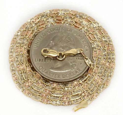 "14k Gold Diamond Cut Valentino Star chain Necklace 20"" 2.1 MM Tri Color Womens"
