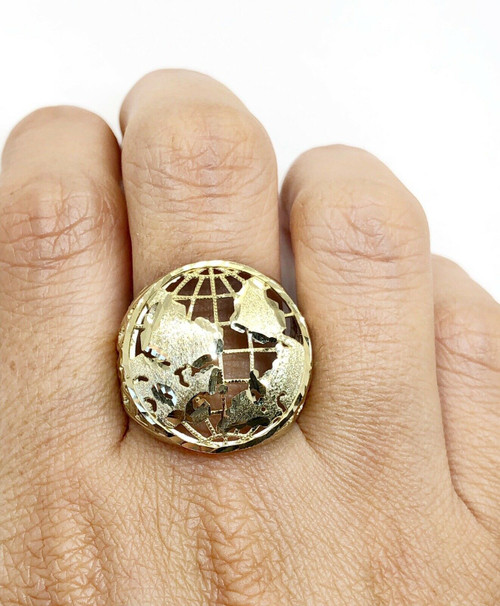 Mens 10K Solid Yellow Gold Globe Earth Planet World Map Ring Size 12