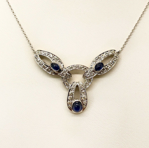 "18k White Gold 2Ct Diamond & Blue Sapphire Womens Cluster Necklace,19.75"", VS2,G"