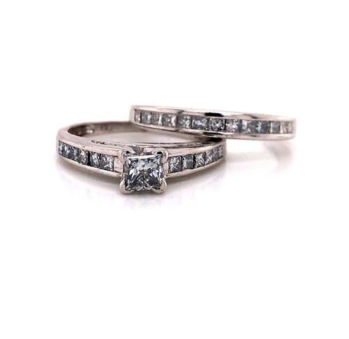 14k White Gold 1.2 Ct Natural Princess Diamond Engagement Ring & Wedding Band