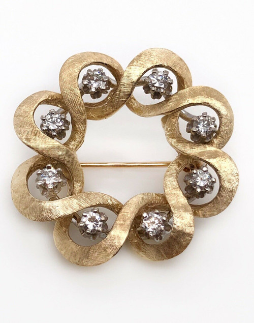 Vintage Art Deco 14k Yellow Gold 0.64 Ct Natural White Diamond Pin Brooch 1.14""