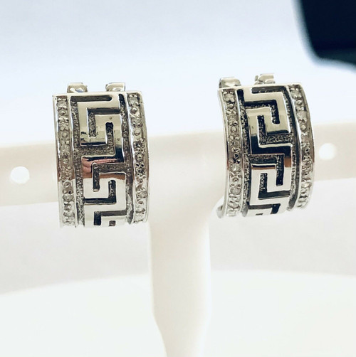 14k Solid White Gold 0.35 Ct Natural Diamond Greek Key Huggie Earrings