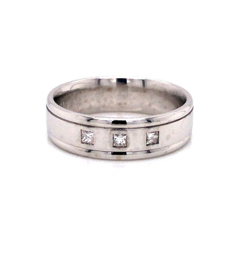 14k Solid White Gold 0.15 Ct Natural Diamond 6.5mm Mens Ring Wedding Band Size10